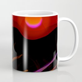 Red Moon in the Ocean with Jellyfish Coffee Mug