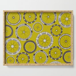 bike wheels chartreuse Serving Tray