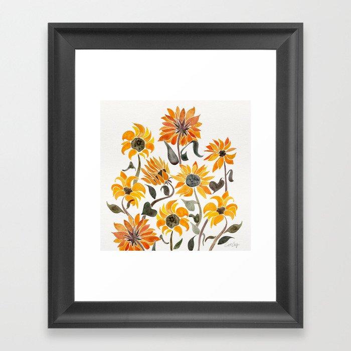 Sunflower Watercolor – Yellow & Black Palette Gerahmter Kunstdruck