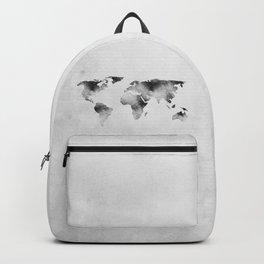 World Map - Hammered Metallic Monochrome Backpack
