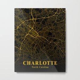 Charlotte North Carolina City Map   United States Cities Maps   American City Street Map Metal Print