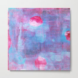 Crimson Clover, Abstract Monoprint Painting Metal Print