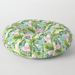 Pink green watercolor flamingo tropical monster leaves Floor Pillow