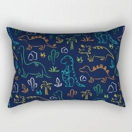 Cute cartoon dinosaur pattern on navy background Rectangular Pillow