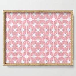 Midcentury Modern Atomic Age Starburst Pattern in White and Pink Serving Tray