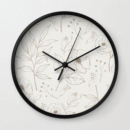 Garden Stroll Floral Pattern in Oat Wall Clock