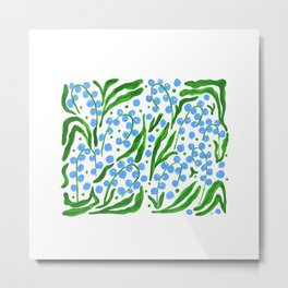 Water Droplets and Leaves Metal Print