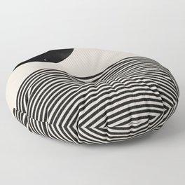 Woodblock Art, Mid Century illustration Floor Pillow