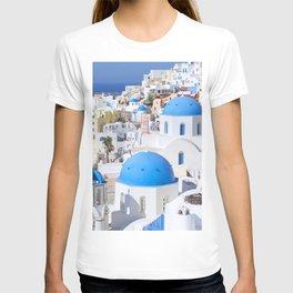 Blue domes of churches in Oia village, Santorini island, Greece T-shirt