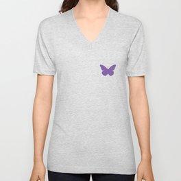 Purple Butterfly Pattern and Print Unisex V-Neck