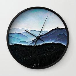 Foggy mountain range Wall Clock