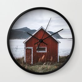 Red Cabin Wall Clock