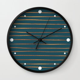 Teal & Rose Gold Line Pattern Wall Clock