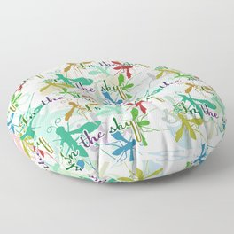 Multicolored mosquitoes flying in the sky on a white background with the inscription Floor Pillow