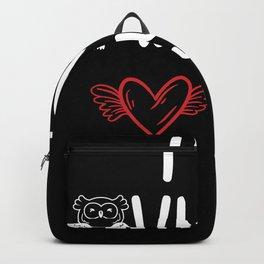 Owls Love T-Shirt Gift Owl Ladies Girls Backpack