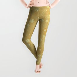 Bright Yellow Grunge Flowers and Hearts Pattern Gift Ideas Leggings