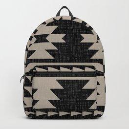 Southwestern Pattern 129 Black and Linen Backpack