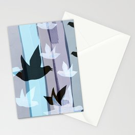 Flying birds in the wood Stationery Cards
