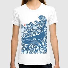 Japan Sea Whale Art Lino T-shirt