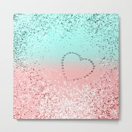 Summer Vibes Glitter Heart #1 #coral #mint #shiny #decor #art #society6 Metal Print