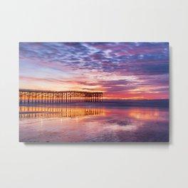 Low Tide Ocean Beach Sunset Reflections (blue, purple, pink, orange) Metal Print