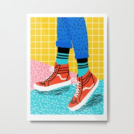 Toe Drag - memphis throwback fashion shoes retro pattern grid pink bright neon hipster Metal Print