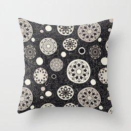Hacienda Black and White round tile motif repeat print Throw Pillow