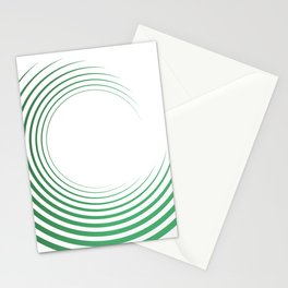 Green Curved Wave Stationery Cards