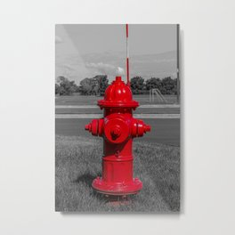 Bright Red Mueller Super Centurion Fire Hydrant Freshly Painted Fireplug Metal Print
