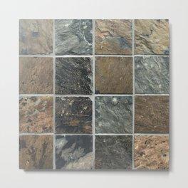 Desert Colored Stone Tiles Pattern Metal Print