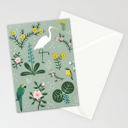 """Tropical Birds and Flowers"" on Sage Green by Bex Morley Stationery Cards"