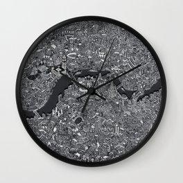 London map print drawing england Wall Clock
