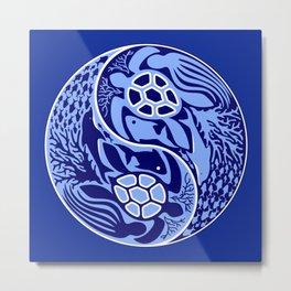 Yin Yang Marine Life Sign Classic Blue Monochrome Metal Print