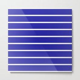 Horizontal Lines (White & Navy Pattern) Metal Print