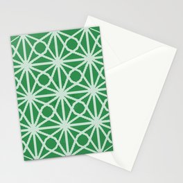 Vibrant Spring Green Moroccan Tile Sacred Geometry Print Stationery Cards