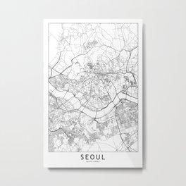 Seoul White Map Metal Print