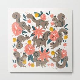 Squirrels & Blooms – Coral & Teal Metal Print