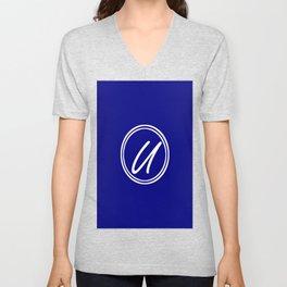 Monogram - Letter U on Navy Blue Background Unisex V-Neck
