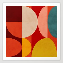 shapes of red mid century art Kunstdrucke
