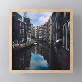 Amsterdam buildings on a river view  Framed Mini Art Print