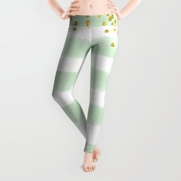 Seafoa Green & With Stripes with Gold Confetti Accents Leggings