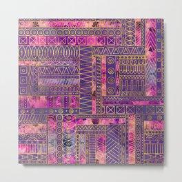 Tribal  Ethnic Boho Pattern gold and violet Metal Print