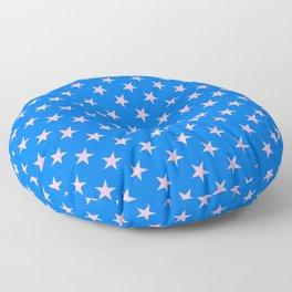 Cotton Candy Pink on Brandeis Blue Stars Floor Pillow