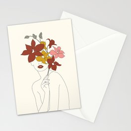 Colorful Thoughts Minimal Line Art Woman with Orchids Stationery Cards