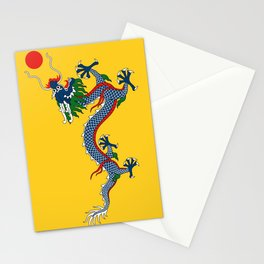 Chinese Dragon - Flag of Qing Dynasty Stationery Cards