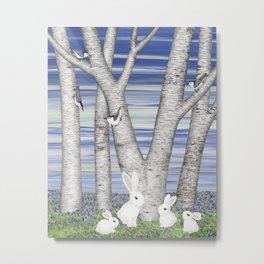 nuthatches, bunnies, and birches Metal Print
