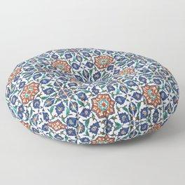 Iznik Tile Pattern Red Blue White Floor Pillow