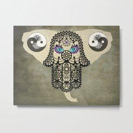 Elephant Hamsa Ying Yang Tree of Life Animal Bohemian Art A403 Metal Print
