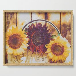 Shabby Chic Sunflowers Serving Tray