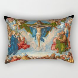 "Albrecht Dürer‎ ""Adoration of the Trinity (Landauer Altar) All saints"" Rectangular Pillow"